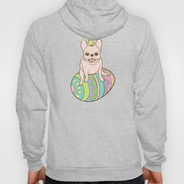 Cream Frenchie and Easter chick on a colorful Easter egg Hoody