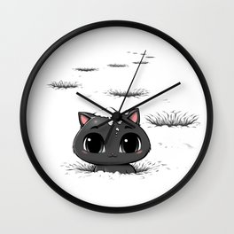 Lost Cat In The Snow Wall Clock