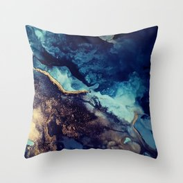 Stormy Skies-Abstract Glam Art Print Throw Pillow