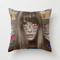 jane davenport Throw Pillows featuring JANE by Kris Tate