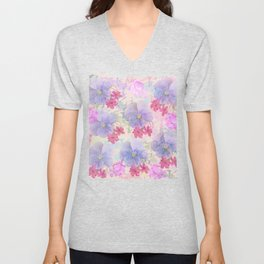 Painterly purple pansies and pink Oxalis Unisex V-Neck
