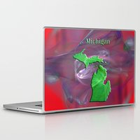 michigan Laptop & iPad Skins featuring Michigan Map by Roger Wedegis