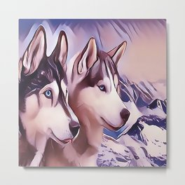 A Pair of Siberian Huskys Metal Print