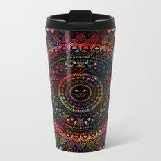 Rainbow Kitty Cat Mandala Metal Travel Mug