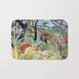 Tiger in a Tropical Storm (Surprised!) by Henri Rousseau 1891 // Jungle Rain Stormy Weather Scene Bath Mat