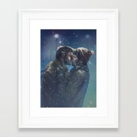 destiel Framed Art Prints featuring Winter Destiel by A Midget Banana