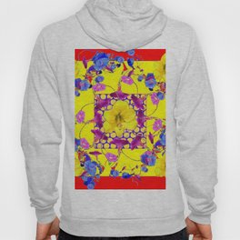 DECORATIVE RED-YELLOW AMARYLLIS  BLUE FLORALS Hoody