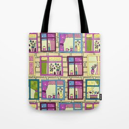 House wall with cute windows Tote Bag