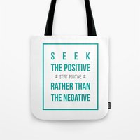 positive Tote Bags featuring #positive by Cool_Design