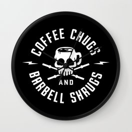 Coffee Chugs And Barbell Shrugs Wall Clock