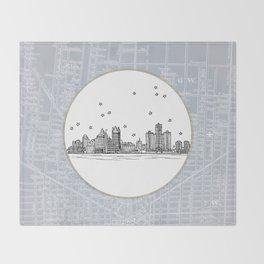 Detroit, Michigan City Skyline Illustration Drawing Throw Blanket