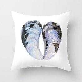 Heart Mussel Throw Pillow