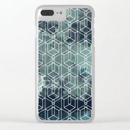 Blue in a corner Clear iPhone Case