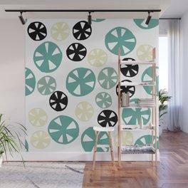 Modern hand painted green black ivory abstract polka dots Wall Mural