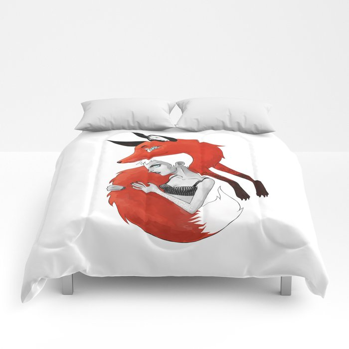 Girl and a Fox Comforters