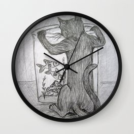 Curious Cat and the Goldfish Drawing Wall Clock