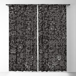 Doodles Homage to Keith Haring Black Blackout Curtain