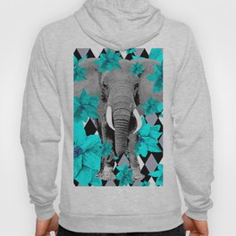 ELEPHANT and HARLEQUIN BLUE AND GRAY Hoody