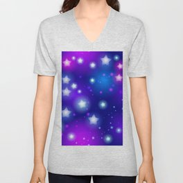 Milky Way Abstract pattern with neon stars on blue background Unisex V-Neck