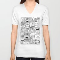 cityscape V-neck T-shirts featuring cityscape by Anna Grunduls