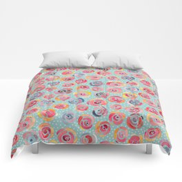 Watercolor Roses with Dots - Forever is Composed of Nows Comforters