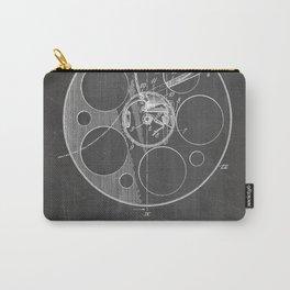 Film Reel Patent - Classic Cinema Art - Black Chalkboard Carry-All Pouch