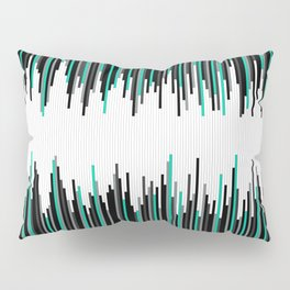 Frequency Line, Vertical Staggered Black, Gray & Teal Line Digital Illustration Pillow Sham