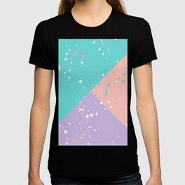 Trendy pastel pink teal purple color block splatters T-shirt