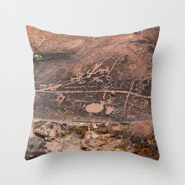 Desert Rock Art Petroglyphs Panoramic Throw Pillow
