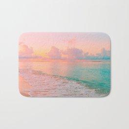 Beautiful: Aqua, Turquoise, Pink, Sunset Relaxing, Peaceful, Coastal Seashore Bath Mat