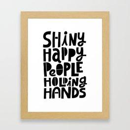 shiny happy people x typography Framed Art Print