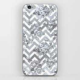 Vintage chic elegant blue gray white geometrical floral pattern iPhone Skin