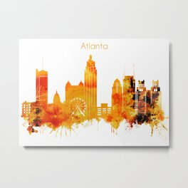 Atlanta Georgia Red Yellow Skyline Metal Print