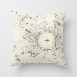 Vintage Print - Map of Comparative River Lengths (1834) Throw Pillow