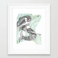 mermaids Framed Art Prints featuring Mermaids by winnie patterson