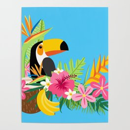 Tropical Toucan Island Coconut Flowers Fruit Blue Background Poster
