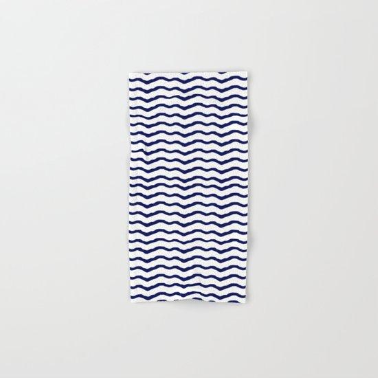 Maritime pattern- darkblue waves lines ond white  backround Hand & Bath Towel