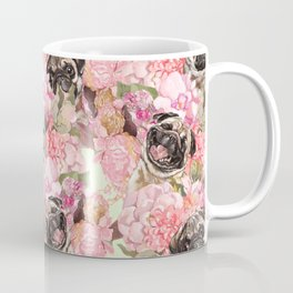 Pugs in Garden Coffee Mug