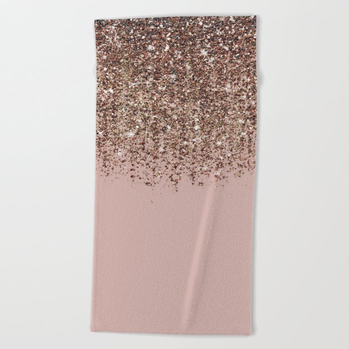 Blush Pink Rose Gold Bronze Cascading Glitter Beach Towel