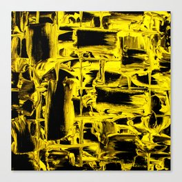 Yellow Abstract Paint Strikes and Lines on Black Canvas Canvas Print