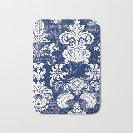 navy and white breeze Bath Mat