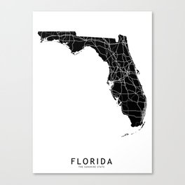 Florida Black Map Canvas Print
