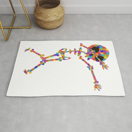 Dabbing Skeleton For Autism Rug