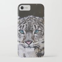 snow leopard iPhone & iPod Cases featuring Snow Leopard by Robin Design