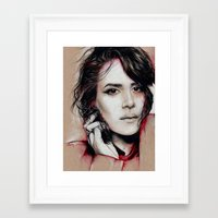 sarah paulson Framed Art Prints featuring Sarah by marziiporn