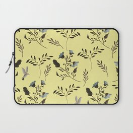 Butter Yellow and Bluebells and Bluebirds Floral Pattern Flowers in Blue and Bark Brown Laptop Sleeve