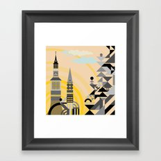 Geometric town with towers. Framed Art Print