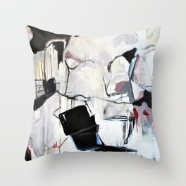 Many Road Abstract Contemporary Artwork Lines Marks Pink Black White Throw Pillow