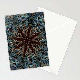 Fluid Nature - Chocolate Teal Mandala Style Design Stationery Cards