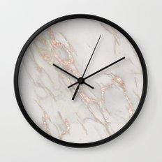 Marble Rose Gold Blush Pink Metallic by Nature Magick Wall Clock